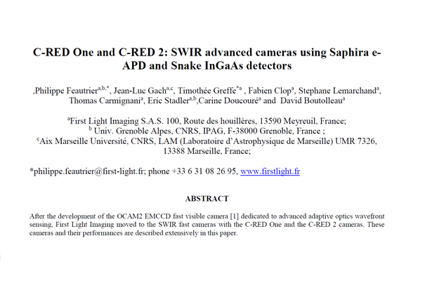 SPIE DCS – C-RED CAMERAS BY PHILIPPE FEAUTRIER